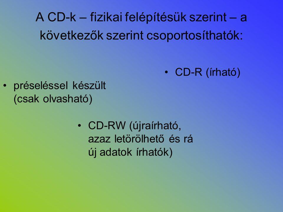 A CD-k – fizikai felépítésük szerint – a következők szerint csoportosíthatók: •préseléssel készült (csak olvasható) •CD-R (írható) •CD-RW (újraírható,