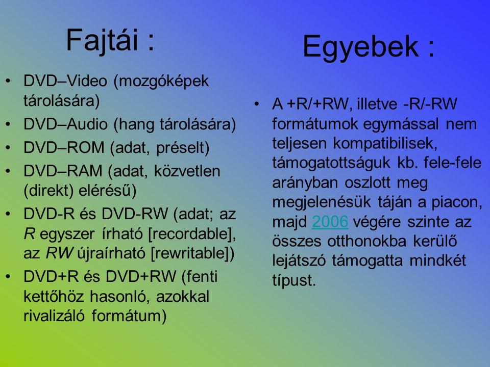 Fajtái : •DVD–Video (mozgóképek tárolására) •DVD–Audio (hang tárolására) •DVD–ROM (adat, préselt) •DVD–RAM (adat, közvetlen (direkt) elérésű) •DVD-R é