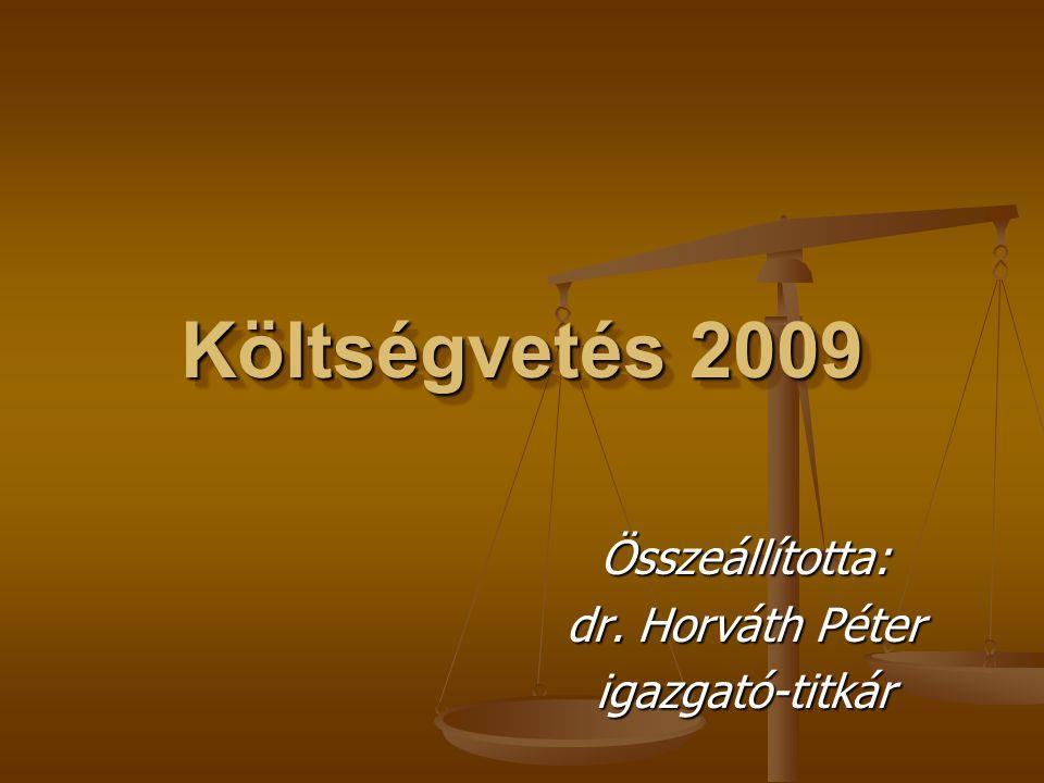 Költségvetés 2009 Összeállította: dr. Horváth Péter igazgató-titkár