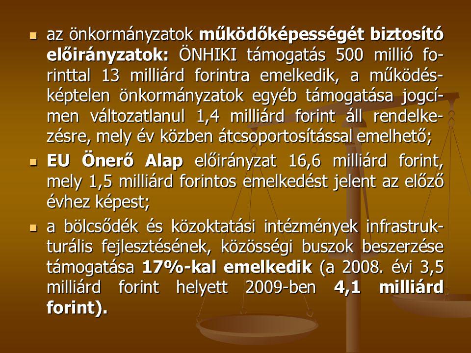  az önkormányzatok működőképességét biztosító előirányzatok: ÖNHIKI támogatás 500 millió fo- rinttal 13 milliárd forintra emelkedik, a működés- képtelen önkormányzatok egyéb támogatása jogcí- men változatlanul 1,4 milliárd forint áll rendelke- zésre, mely év közben átcsoportosítással emelhető;  EU Önerő Alap előirányzat 16,6 milliárd forint, mely 1,5 milliárd forintos emelkedést jelent az előző évhez képest;  a bölcsődék és közoktatási intézmények infrastruk- turális fejlesztésének, közösségi buszok beszerzése támogatása 17%-kal emelkedik (a 2008.