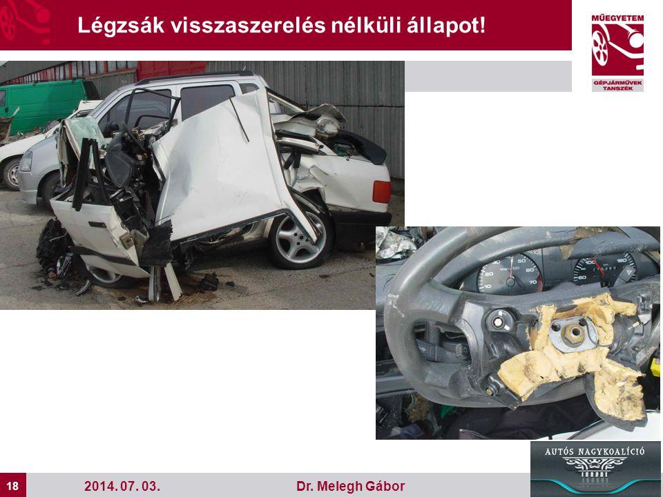 18 Dr. Melegh Gábor Légzsák visszaszerelés nélküli állapot! 2014. 07. 03.