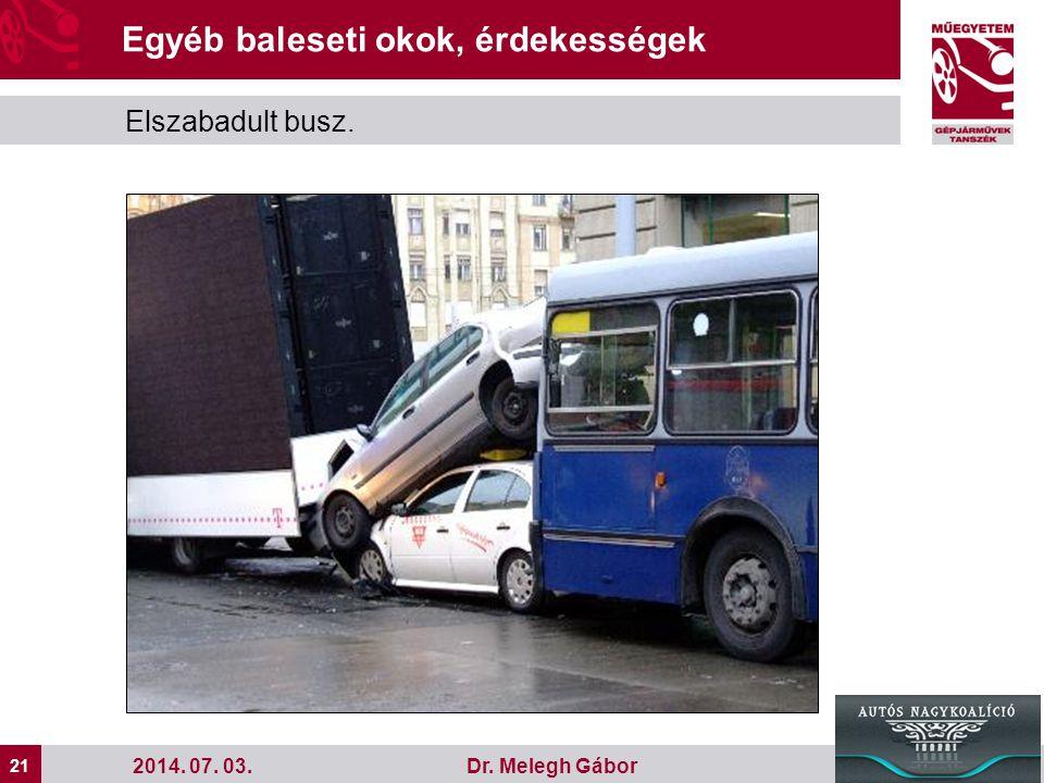 21 Dr. Melegh Gábor2014. 07. 03. Egyéb baleseti okok, érdekességek Elszabadult busz.
