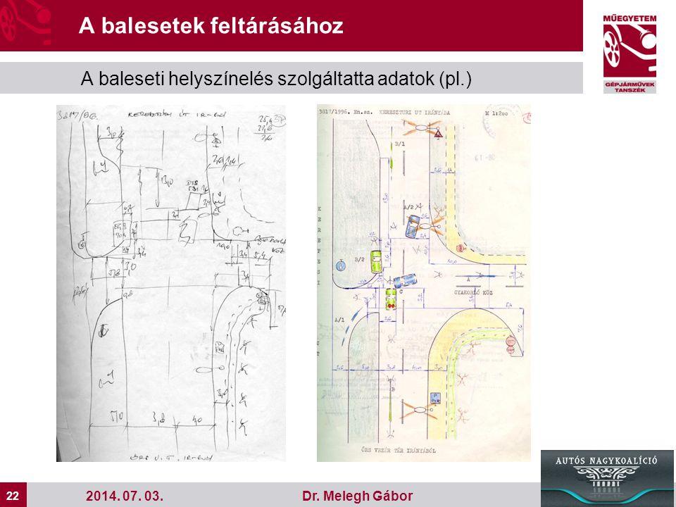 22 Dr. Melegh Gábor A balesetek feltárásához A baleseti helyszínelés szolgáltatta adatok (pl.) 2014. 07. 03.