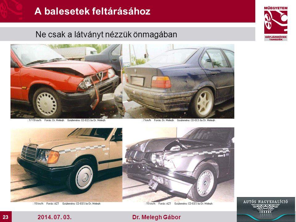 23 Dr. Melegh Gábor A balesetek feltárásához Ne csak a látványt nézzük önmagában 2014. 07. 03.