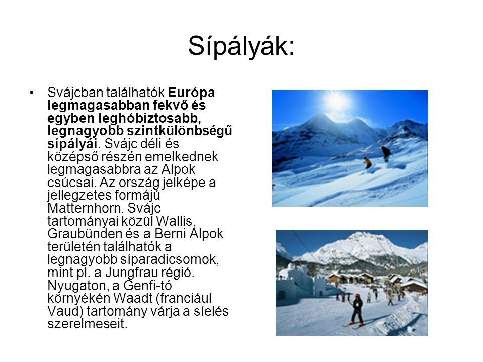 Sípályák: •Svájcban találhatók Európa legmagasabban fekvő és egyben leghóbiztosabb, legnagyobb szintkülönbségű sípályái. Svájc déli és középső részén