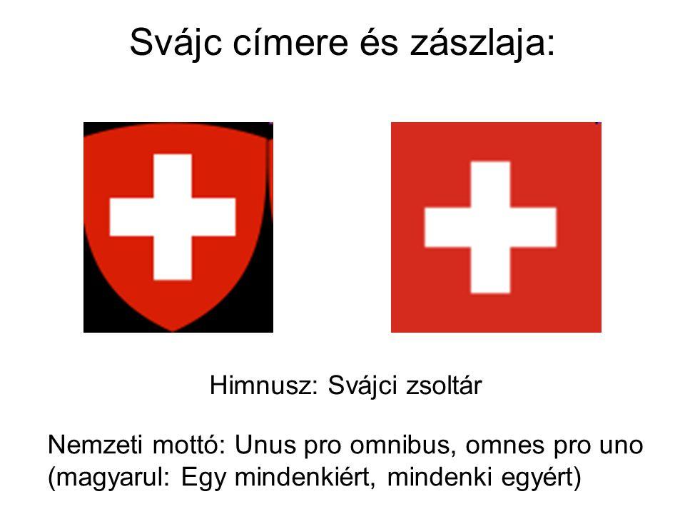 Svájc címere és zászlaja: Himnusz: Svájci zsoltár Nemzeti mottó: Unus pro omnibus, omnes pro uno (magyarul: Egy mindenkiért, mindenki egyért)