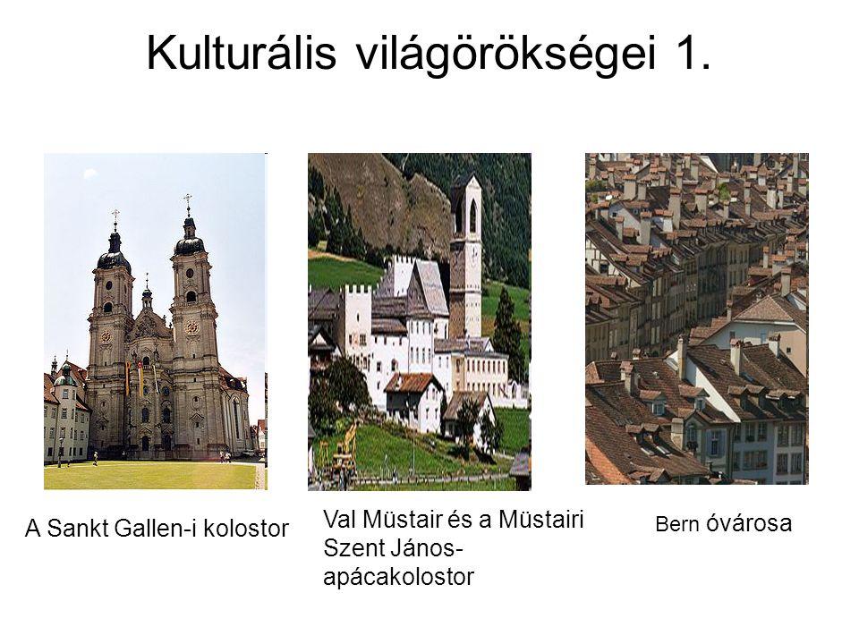 Kulturális világörökségei 1. A Sankt Gallen-i kolostor Val Müstair és a Müstairi Szent János- apácakolostor Bern óvárosa