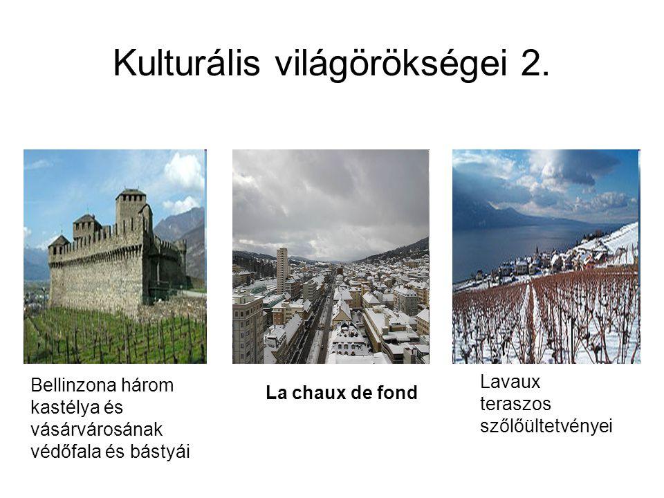 Kulturális világörökségei 2. Bellinzona három kastélya és vásárvárosának védőfala és bástyái Lavaux teraszos szőlőültetvényei La chaux de fond