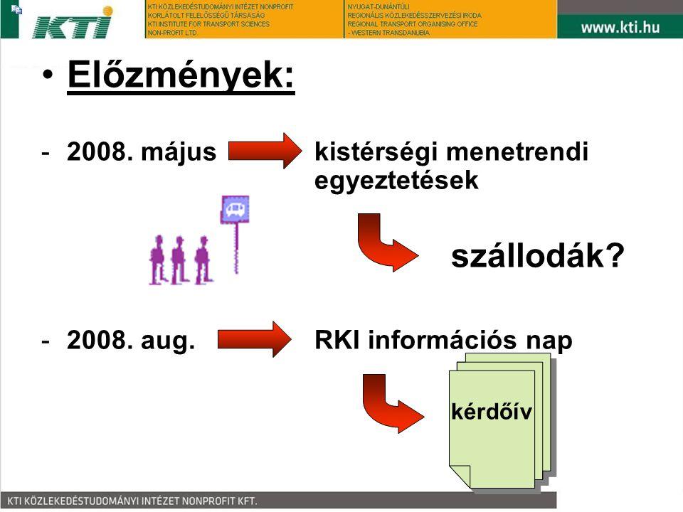•Előzmények: -2008. májuskistérségi menetrendi egyeztetések szállodák? -2008. aug.RKI információs nap kérdőív