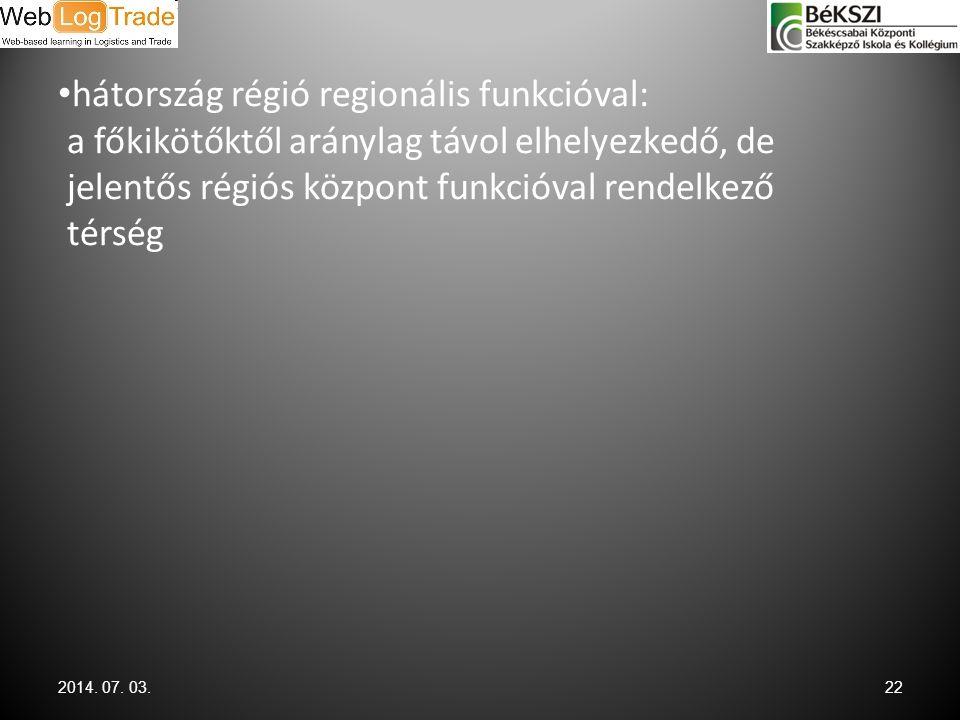 • hátország régió regionális funkcióval: a főkikötőktől aránylag távol elhelyezkedő, de jelentős régiós központ funkcióval rendelkező térség 2014. 07.