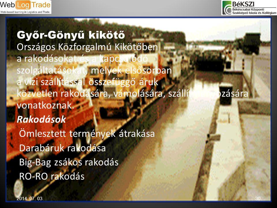 Győr-Gönyű kikötő Országos Közforgalmú Kikötőben a rakodásokat és a kapcsolódó szolgáltatásokat, melyek elsősorban a vízi szállítással összefüggő áruk