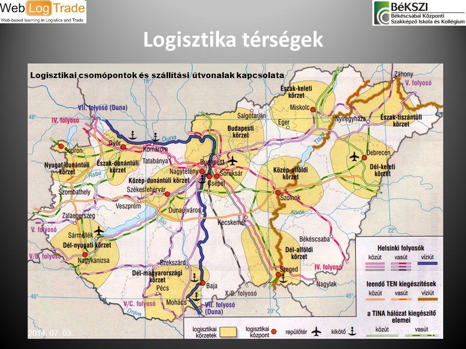 Logisztika térségek Logisztikai csomópontok és szállítási útvonalak kapcsolata 2014. 07. 03.40