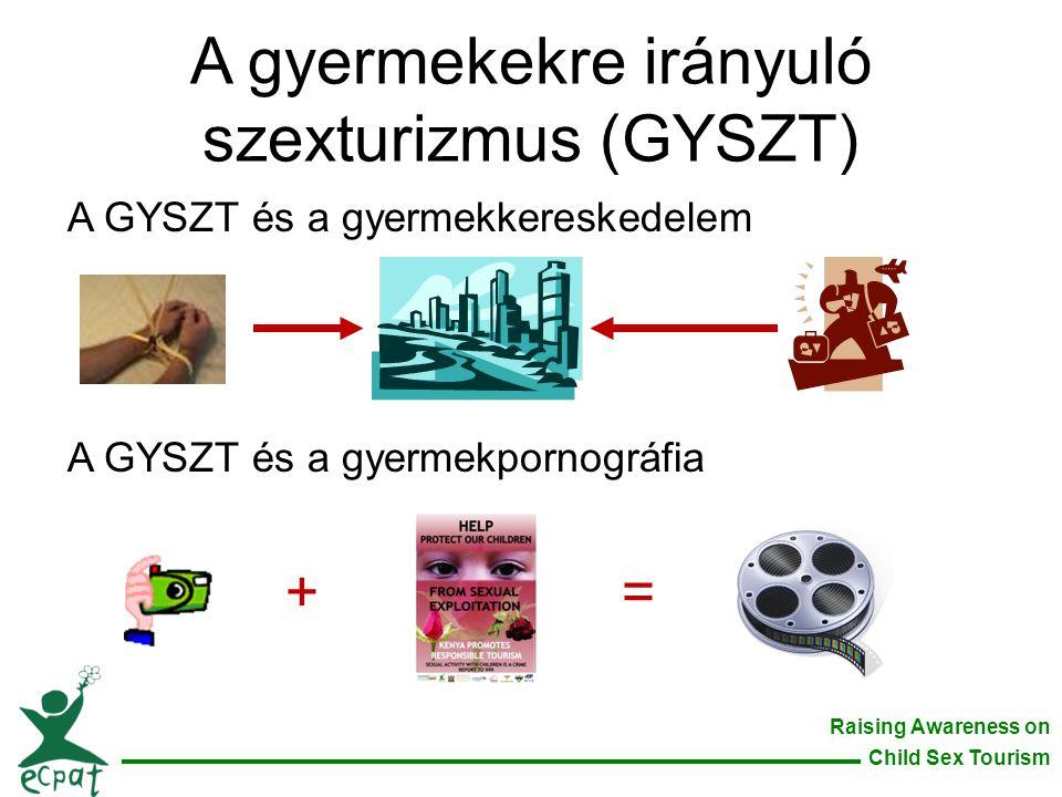 Raising Awareness on Child Sex Tourism A gyermekekre irányuló szexturizmus (GYSZT) A GYSZT és a gyermekkereskedelem A GYSZT és a gyermekpornográfia +=