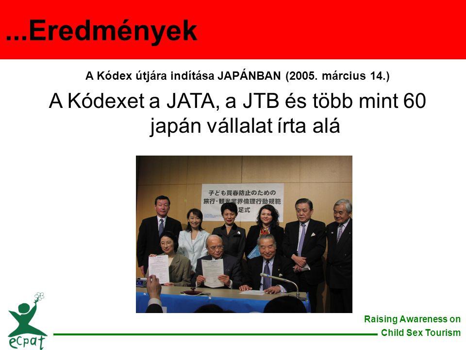 Raising Awareness on Child Sex Tourism A Kódex útjára indítása JAPÁNBAN (2005. március 14.) A Kódexet a JATA, a JTB és több mint 60 japán vállalat írt
