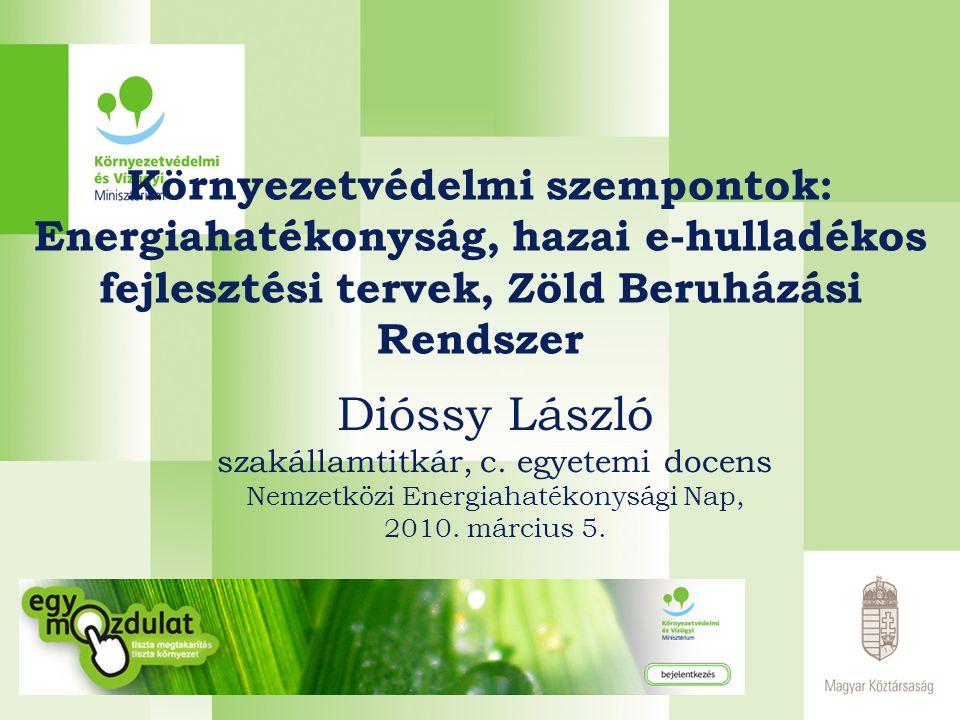 E-hulladékos fejlesztési tervek  Alap → jogi szabályozás  EU-s irányelv jelenlegi felülvizsgálata  előkészülőben az OHT II → új cél: 7-8 kg/fő/év begyűjtendő E-hulladék 2014-re → jelenlegi helyzet és prognózisok  4,2 kg/fő/2008 a begyűjtött e-hulladék  várható hulladékképződés: 98 ezer tonna 2014-re Terv: Az új irányelv megjelenése után 18 hónapon belül a magyar jogszabályokat harmonizálni kell!
