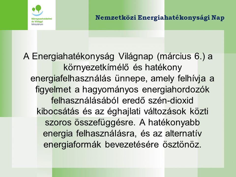 Nemzetközi Energiahatékonysági Nap A Energiahatékonyság Világnap a felhívja a figyelmet a hatékonyabb energia felhasználásra, és annak finanszírozhatóságára/ támogathatóságára.