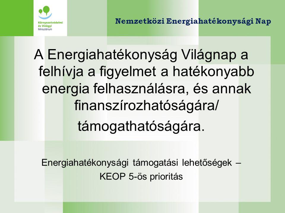 Energiahatékonysági támogatási lehetőség - KEOP 5-ös prioritás KonstrukcióKeret (2009-10, milliárd HUF) Támogatás intenzitás (%) Támogatás összege (millió HUF) Eljárás 5.2.0/A Harmadik feles finanszírozás 4 20-25%1 - 50Automatikus 5.2.0/B Harmadik feles finanszírozás (megújulóval kombinált) 20-25%1 - 50Egyfordulós 5.3.0/A Épületenergetikai fejlesztések és közvilágítás fejlesztése 6 (a keret emelése folyamatban) 10-80% (100%) 1 - 500Egyfordulós 5.3.0/B Épületenergetikai fejlesztések (megújuló energiafelhasználással kombinált) 10-70%1 --500Egyfordulós 5.4.0 Távhő szektor energetikai korszerűsítése810 – 50%10 - 500Egyfordulós 7.4.0 Egészségügyi intézmények energetikai racionalizálása 0,5Max.