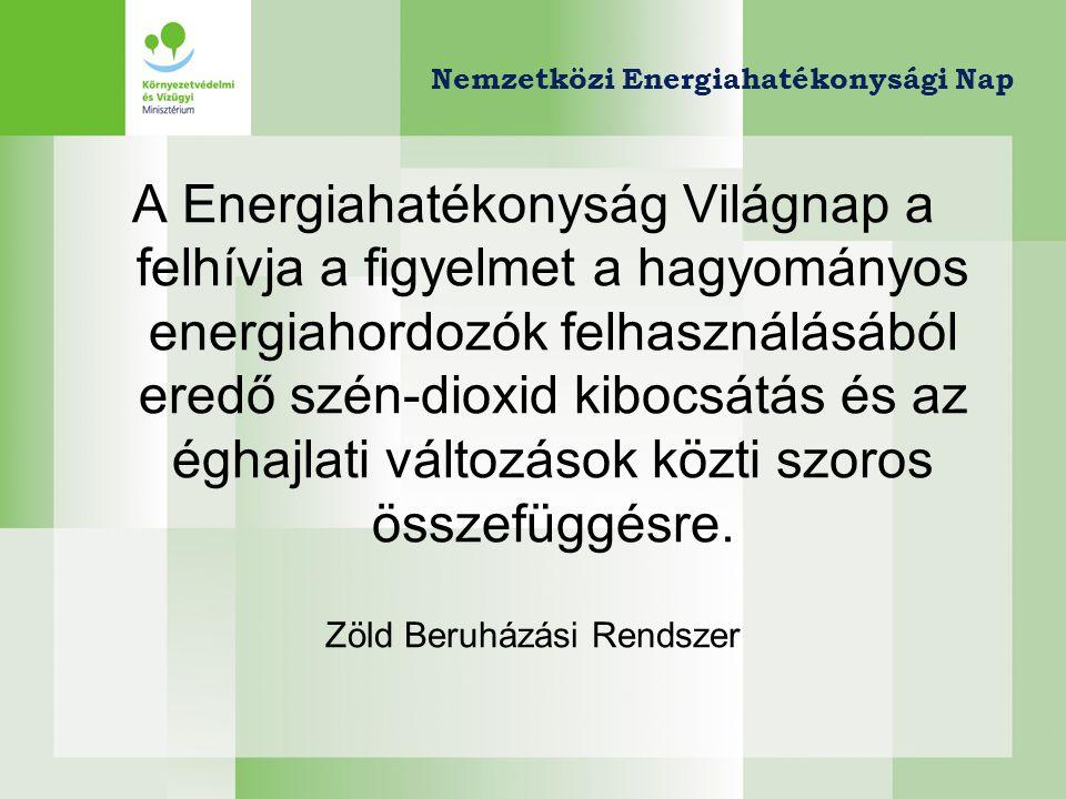 A Zöld Beruházási Rendszer alapjai •ENSZ Éghajlatváltozási Keretegyezményének Kiotói Jegyzőkönyve → kvótakereskedelem •Kvótakereskedelem = ÜHG-kibocsátási jogok nemzetközi kereskedelme •Magyarország mint Eladó, a kvótaértékesítés bevételét klímavédelmi célokra költi: Zöld Beruházási Rendszer (ZBR) •A teljes hazai széndioxid-kibocsátás 30%-áért lakóépületek felelősek •A lakóépületek energiahatékony felújítása = az egyik leghatékonyabbnak tartott klímavédelmi eszköz ZBR Klímabarát Otthon Program Hazánkban először speciális klímavédelmi elem (szigorú szén- dioxid emisszió számítás) az épületfelújítások támogatásában