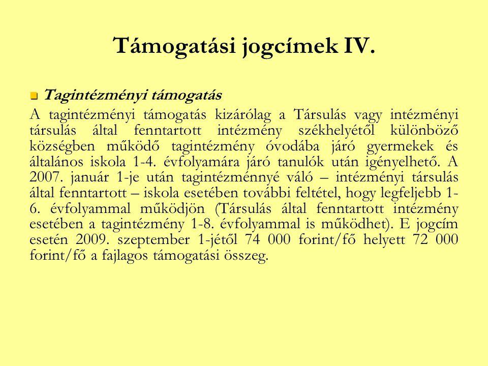 Támogatási jogcímek IV.