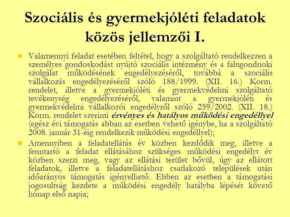 Szociális és gyermekjóléti feladatok közös jellemzői I.