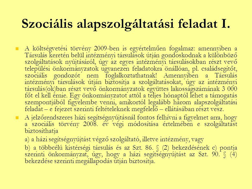 Szociális alapszolgáltatási feladat I.
