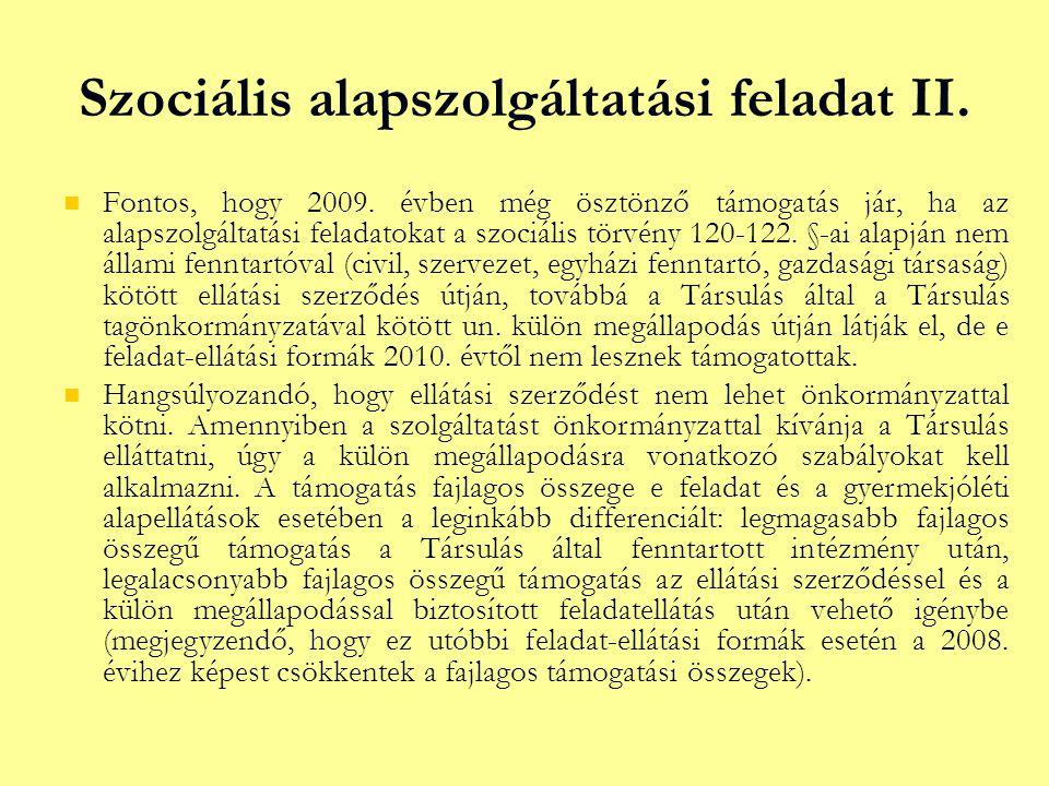 Szociális alapszolgáltatási feladat II.  Fontos, hogy 2009.