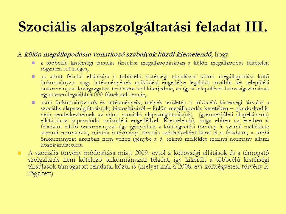 Szociális alapszolgáltatási feladat III.