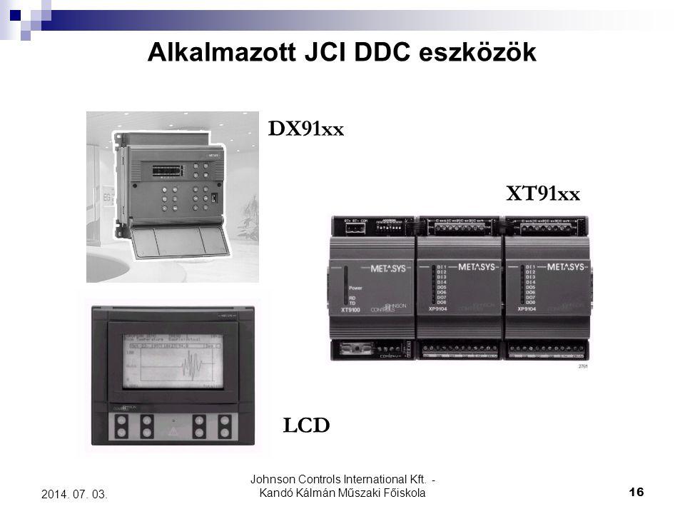 Johnson Controls International Kft. - Kandó Kálmán Műszaki Főiskola 16 2014. 07. 03. Alkalmazott JCI DDC eszközök DX91xx XT91xx LCD