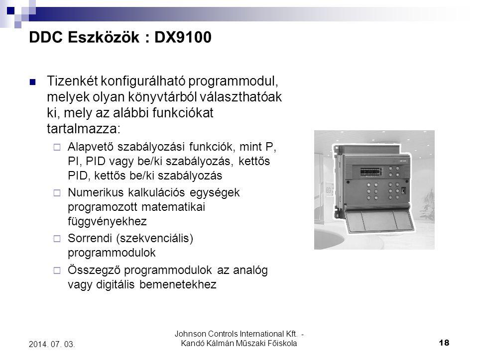 Johnson Controls International Kft. - Kandó Kálmán Műszaki Főiskola 18 2014. 07. 03. DDC Eszközök : DX9100  Tizenkét konfigurálható programmodul, mel