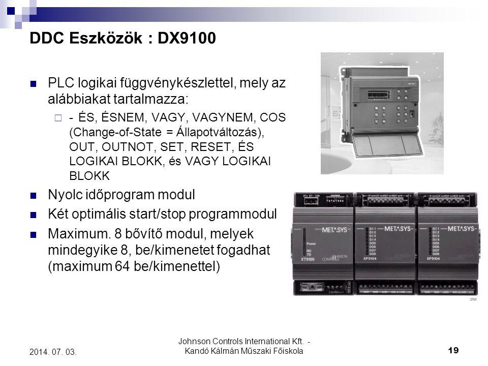 Johnson Controls International Kft. - Kandó Kálmán Műszaki Főiskola 19 2014. 07. 03. DDC Eszközök : DX9100  PLC logikai függvénykészlettel, mely az a