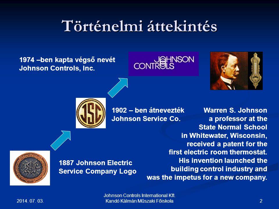 2014. 07. 03. 2 Johnson Controls International Kft. Kandó Kálmán Műszaki Főiskola Történelmi áttekintés 1887 Johnson Electric Service Company Logo 190