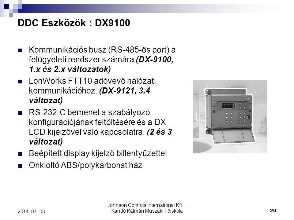 Johnson Controls International Kft. - Kandó Kálmán Műszaki Főiskola 20 2014. 07. 03. DDC Eszközök : DX9100  Kommunikációs busz (RS-485-ös port) a fel
