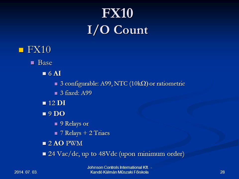 2014. 07. 03. 28 Johnson Controls International Kft. - Kandó Kálmán Műszaki Főiskola FX10 I/O Count  FX10  Base  6 AI  3 configurable: A99, NTC (1