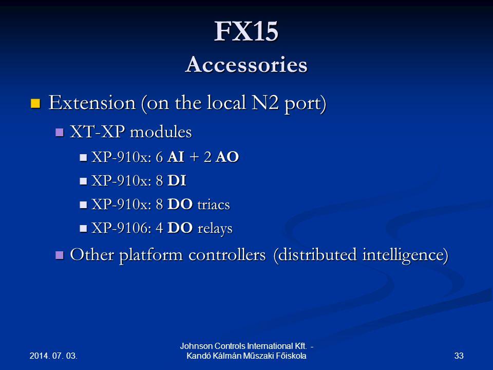 2014. 07. 03. 33 Johnson Controls International Kft. - Kandó Kálmán Műszaki Főiskola FX15 Accessories  Extension (on the local N2 port)  XT-XP modul