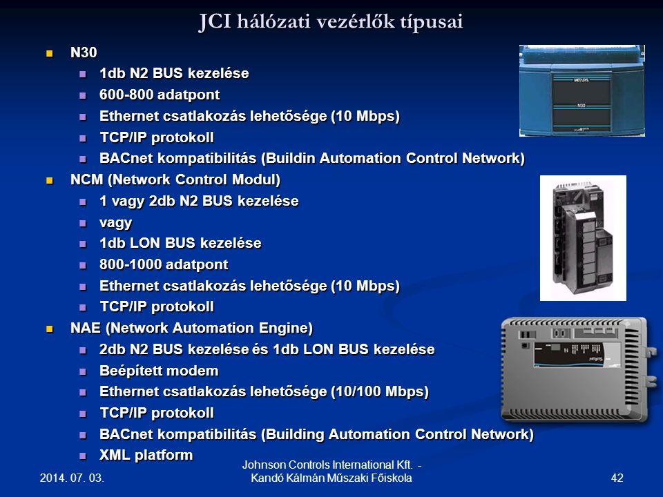 2014. 07. 03. 42 Johnson Controls International Kft. - Kandó Kálmán Műszaki Főiskola JCI hálózati vezérlők típusai  N30  1db N2 BUS kezelése  600-8