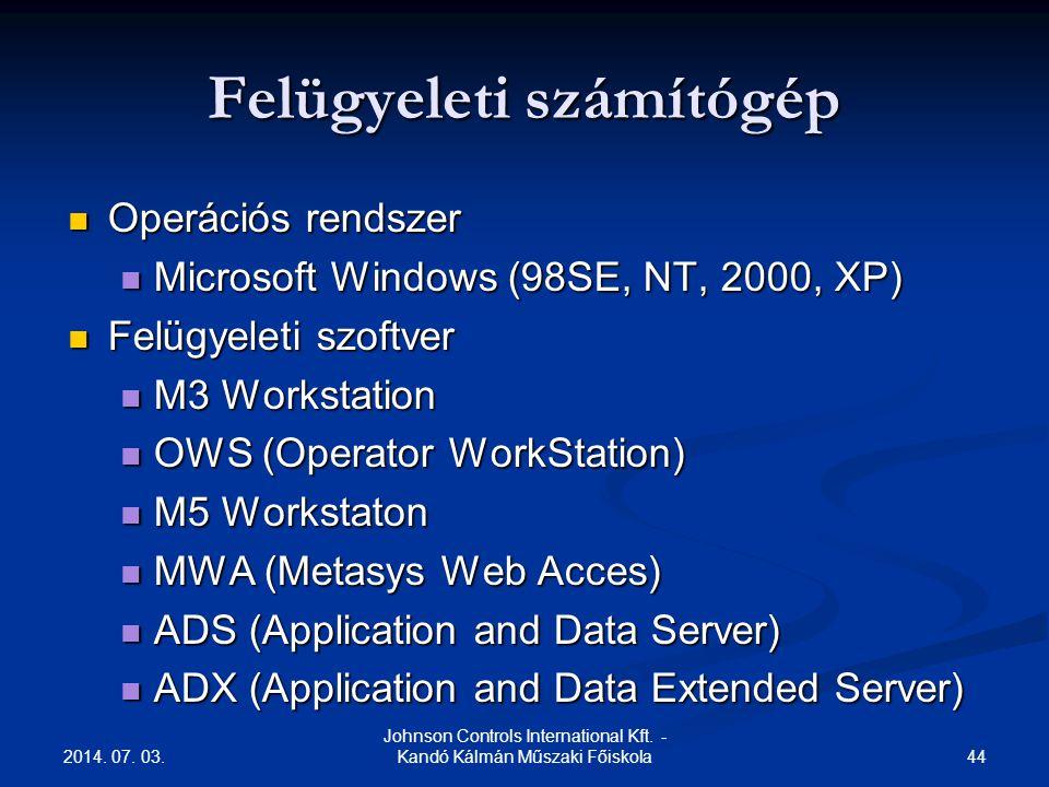 2014. 07. 03. 44 Johnson Controls International Kft. - Kandó Kálmán Műszaki Főiskola Felügyeleti számítógép  Operációs rendszer  Microsoft Windows (