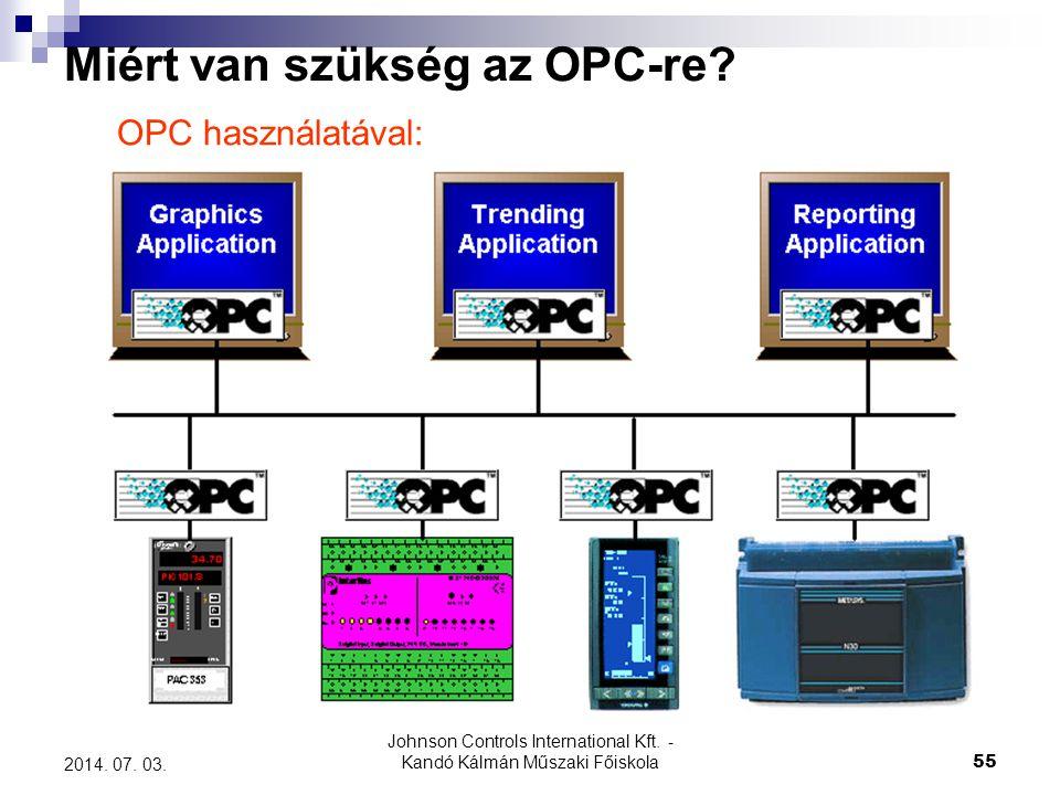 Johnson Controls International Kft. - Kandó Kálmán Műszaki Főiskola 55 2014. 07. 03. Miért van szükség az OPC-re? OPC használatával: