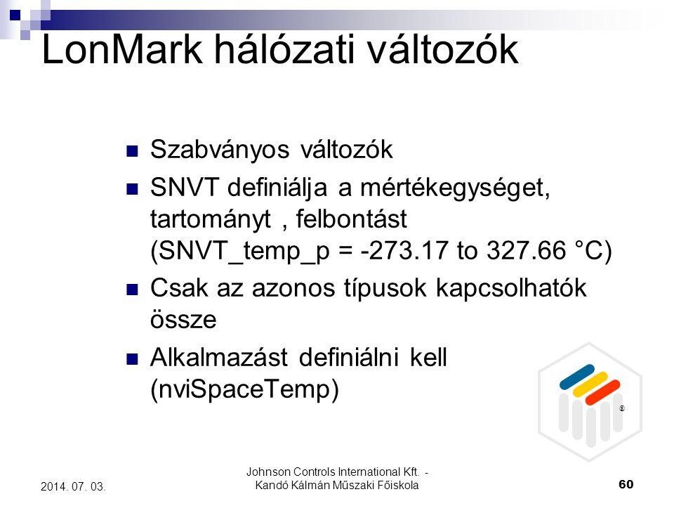 Johnson Controls International Kft. - Kandó Kálmán Műszaki Főiskola 60 2014. 07. 03. LonMark hálózati változók  Szabványos változók  SNVT definiálja