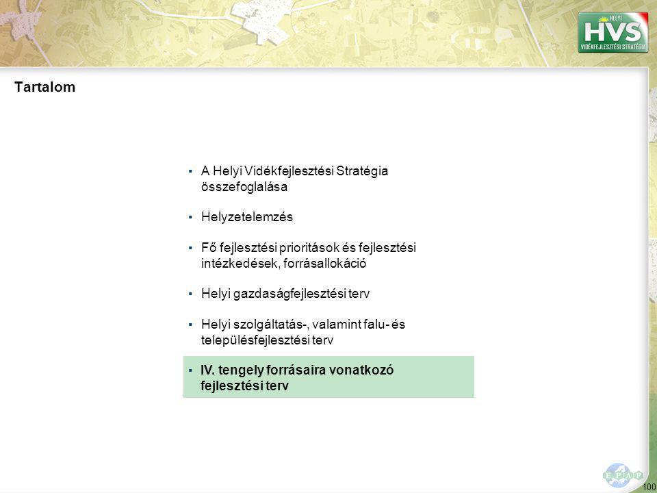 100 ▪A Helyi Vidékfejlesztési Stratégia összefoglalása ▪Helyzetelemzés ▪Fő fejlesztési prioritások és fejlesztési intézkedések, forrásallokáció ▪Helyi