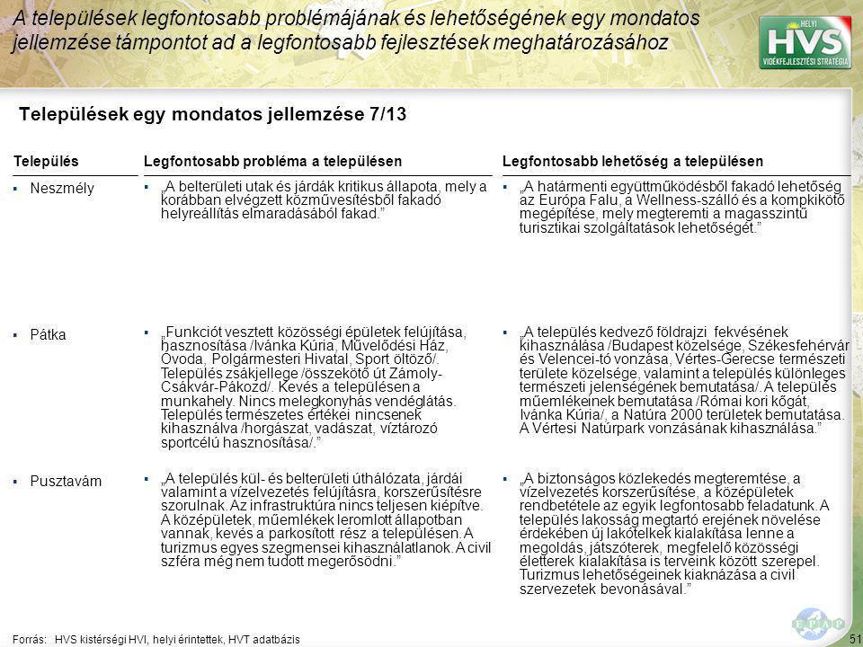 51 Települések egy mondatos jellemzése 7/13 A települések legfontosabb problémájának és lehetőségének egy mondatos jellemzése támpontot ad a legfontos