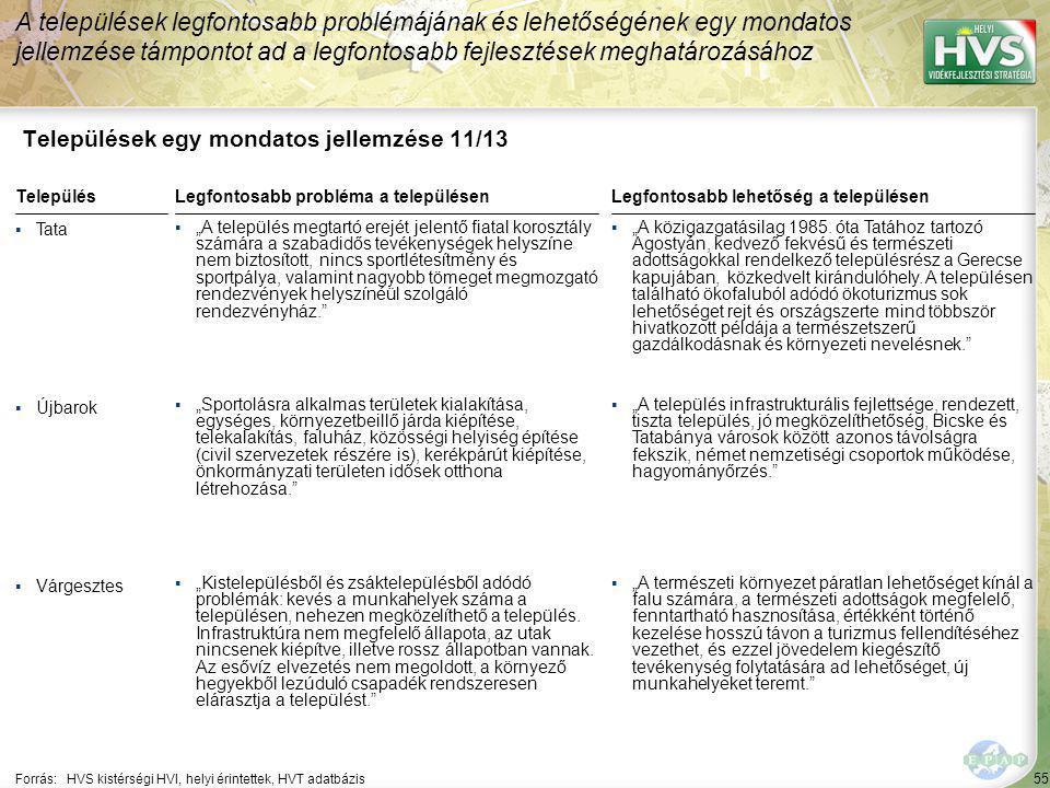 55 Települések egy mondatos jellemzése 11/13 A települések legfontosabb problémájának és lehetőségének egy mondatos jellemzése támpontot ad a legfonto