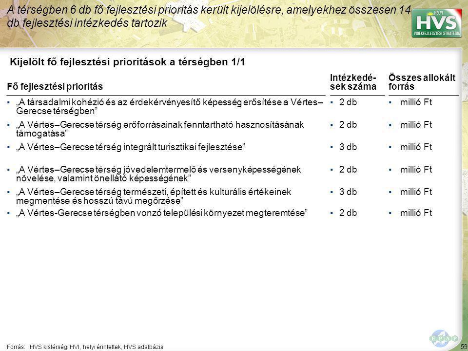 59 Kijelölt fő fejlesztési prioritások a térségben 1/1 A térségben 6 db fő fejlesztési prioritás került kijelölésre, amelyekhez összesen 14 db fejlesz