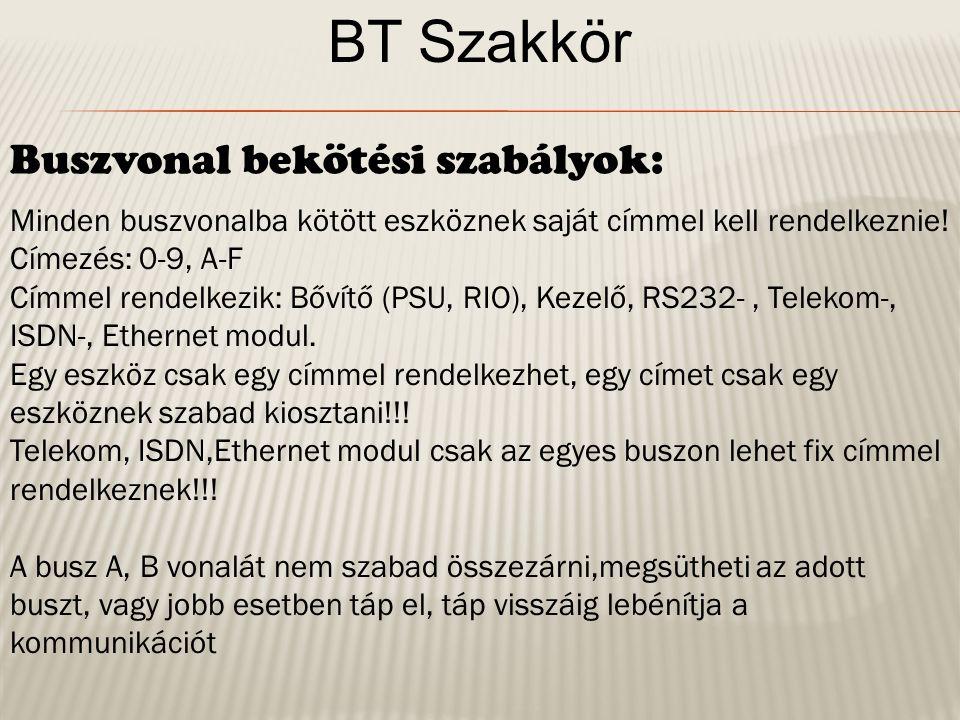 BT Szakkör Rendszer összeállítása A központot az előző ábra alapján összeállítjuk, - rákötjük a bővítőket a buszvonalra - becímezzük a bővítőket - Bekötjük a kezelőket is a buszba (szükség esetén lezáró ellenállással látjuk el) - felcímezzük a kezelőket is, figyelve hogy ne legyen címütközés.