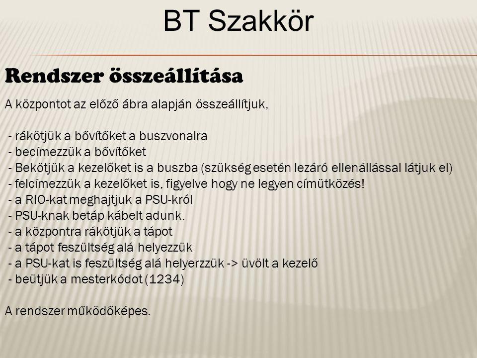 BT Szakkör Zóna bekötési szabályok Egy zónába általában 1 érzékelőt kötünk, kivéve ha összetartozó érzékelőkről van szó (pl.