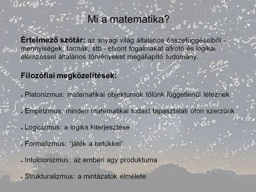 Mi a matematika? Értelmező szótár: az anyagi világ általános összefüggéseiből - mennyiségek, formák, stb - elvont fogalmakat alkotó és logikai elemzés