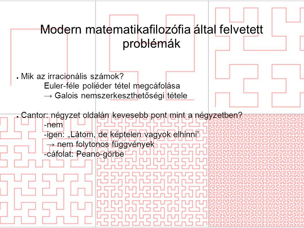 Modern matematikafilozófia által felvetett problémák ● Mik az irracionális számok? Euler-féle poliéder tétel megcáfolása → Galois nemszerkeszthetőségi