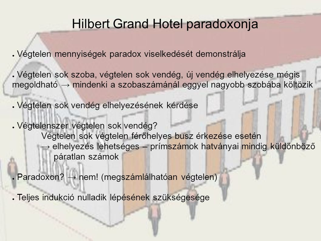 Hilbert Grand Hotel paradoxonja ● Végtelen mennyiségek paradox viselkedését demonstrálja ● Végtelen sok szoba, végtelen sok vendég, új vendég elhelyez