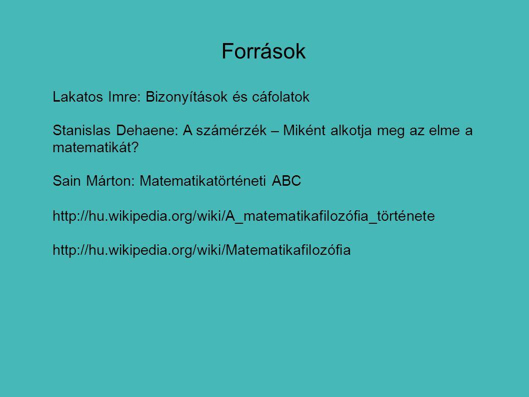 Források Lakatos Imre: Bizonyítások és cáfolatok Stanislas Dehaene: A számérzék – Miként alkotja meg az elme a matematikát? Sain Márton: Matematikatör