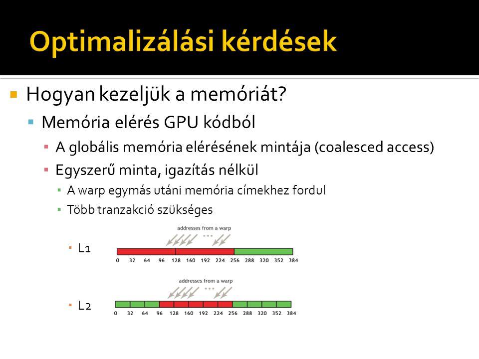  Hogyan kezeljük a memóriát?  Memória elérés GPU kódból ▪ A globális memória elérésének mintája (coalesced access) ▪ Egyszerű minta, igazítás nélkül