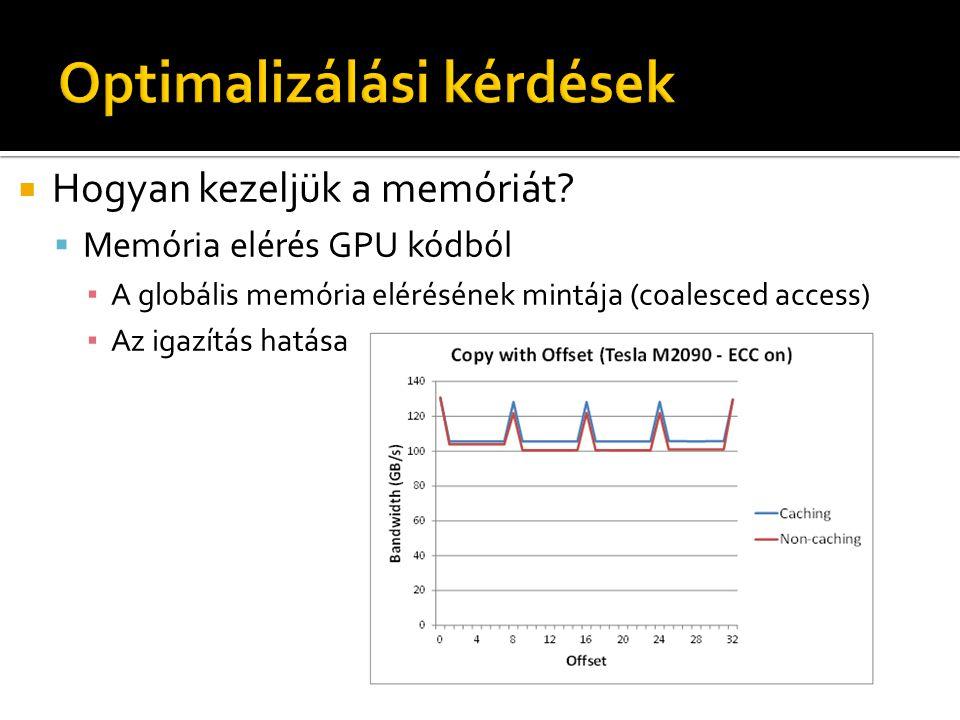  Hogyan kezeljük a memóriát?  Memória elérés GPU kódból ▪ A globális memória elérésének mintája (coalesced access) ▪ Az igazítás hatása cudaMemcpyAs